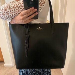KATE SPADE BLACK TOTE KARLA SETON DRIVE LEATHER